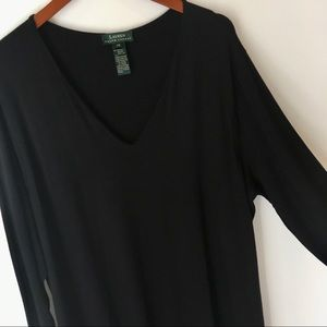 LRL Plus Size Long Sleeve V Neck Maxi Dress Black